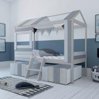 Hausbett 90x200 Weiss Grau Kinderbett Kinderhaus Bettkasten Holzbett